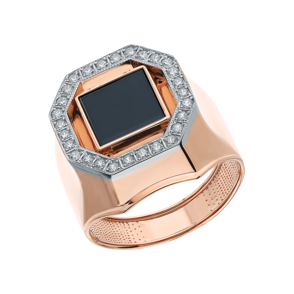 Фото «Золотое кольцо с ониксом и кубическим цирконием»