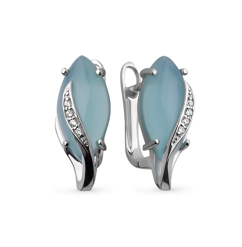 Фото «серебряные серьги с фианитами и кошачьими глазами»