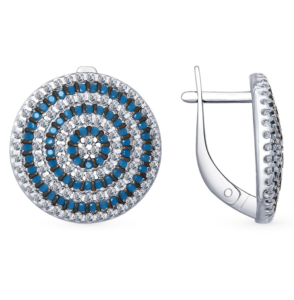 серебряные серьги с фианитами и ситаллами SOKOLOV 94022655