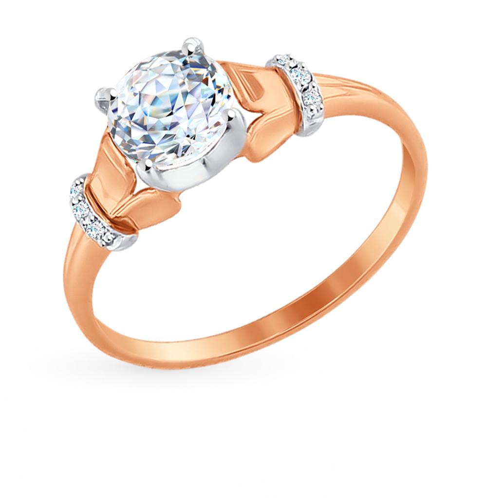 золотое кольцо с фианитами SOKOLOV 81010322*