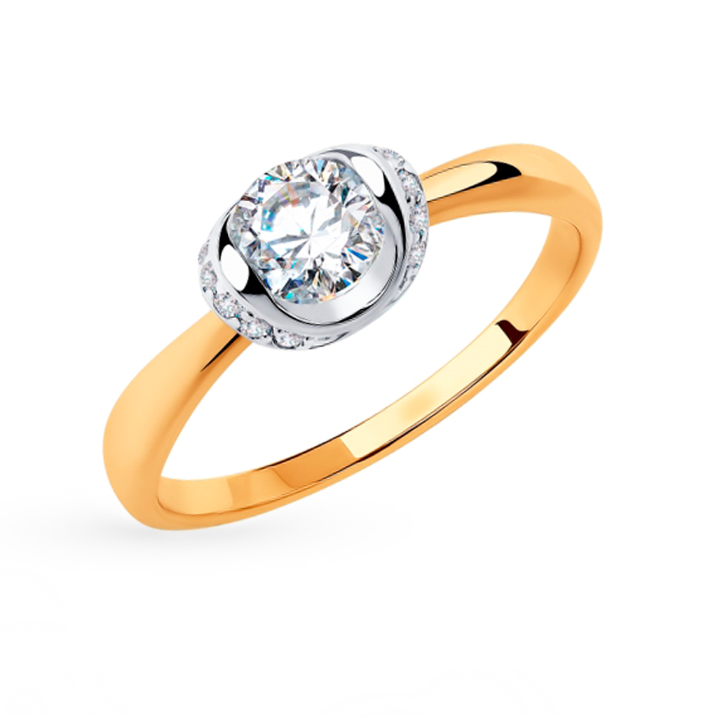 Фото «Золотое кольцо с фианитами SOKOLOV 018253»