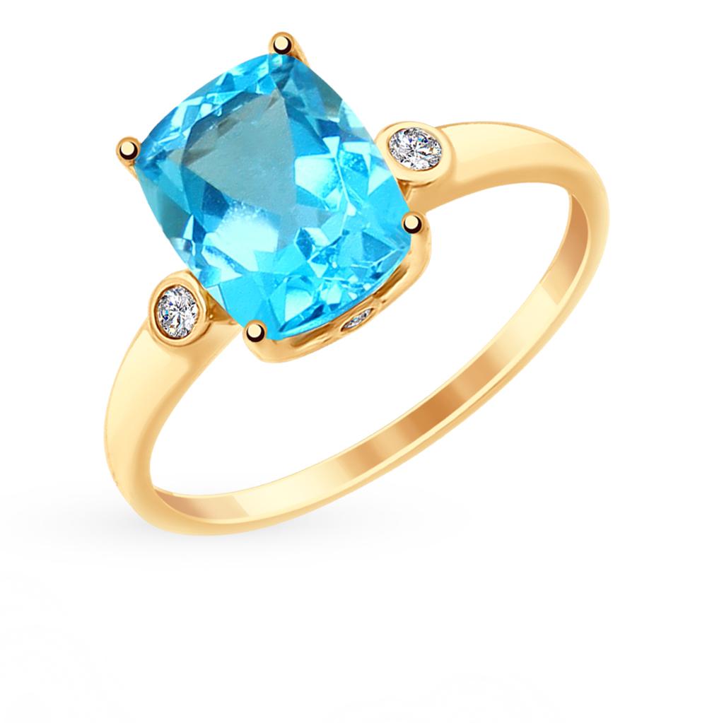 Золотое кольцо с топазами и фианитами SOKOLOV 714907 в Екатеринбурге