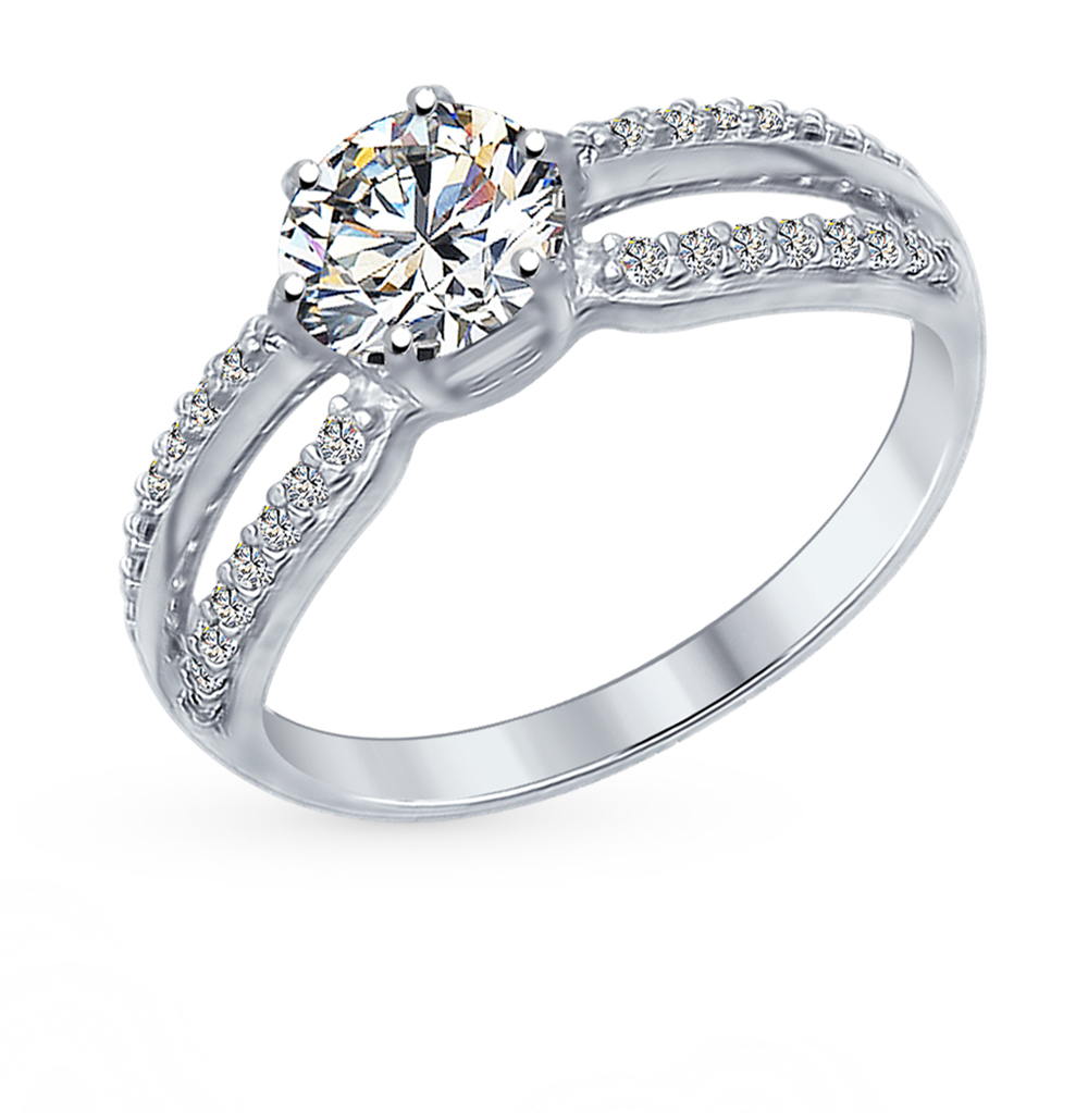 серебряное кольцо с фианитами SOKOLOV 94012345