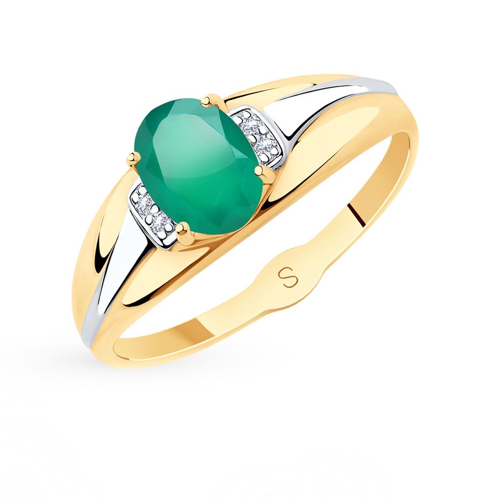 золотое кольцо с фианитами и агатом SOKOLOV 715619*