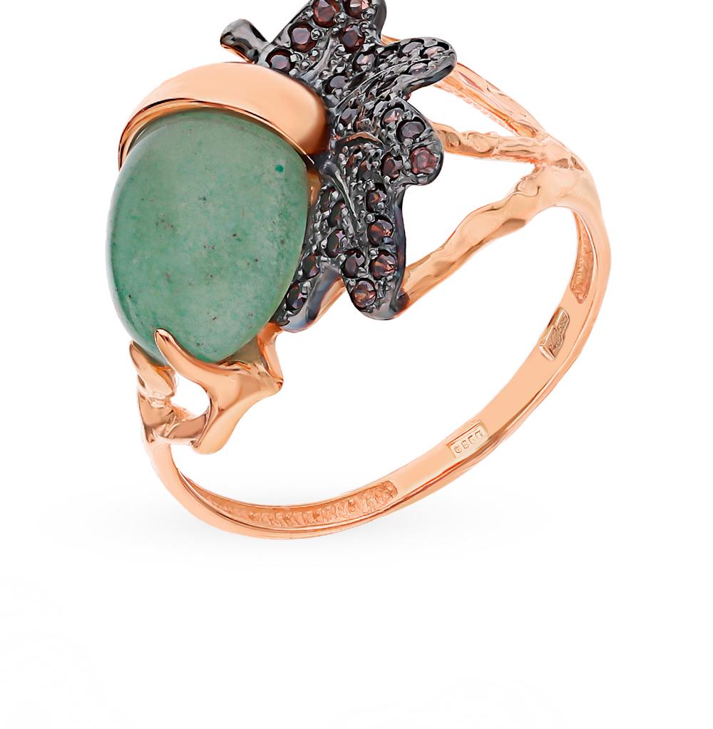 Фото «Золотое кольцо с нефритом и фианитами»