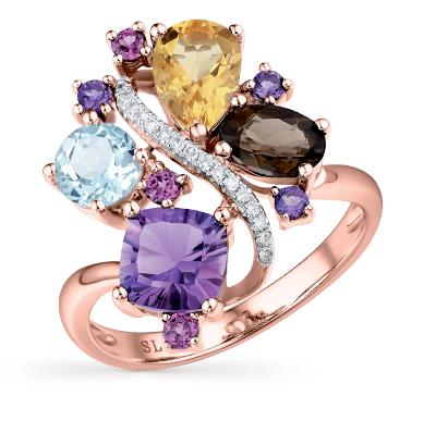 Фото «золотое кольцо с гранатом, топазами и бриллиантами»