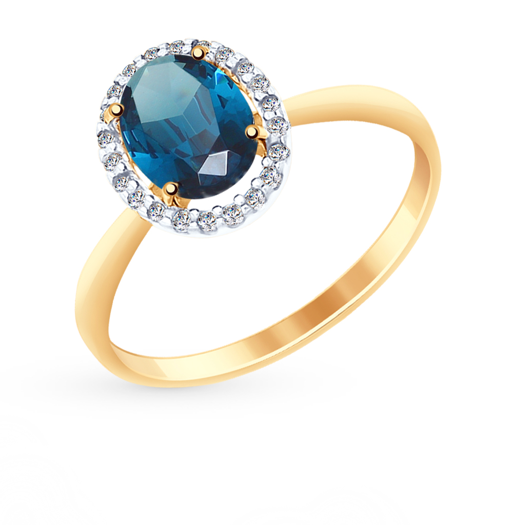 Фото «Золотое кольцо с топазом и фианитами SOKOLOV 714963*»