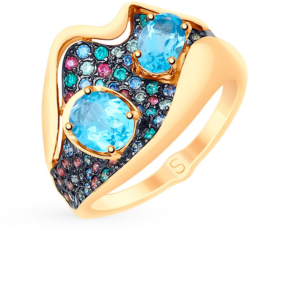 Фото «Золотое кольцо с топазами и фианитами SOKOLOV 715205»