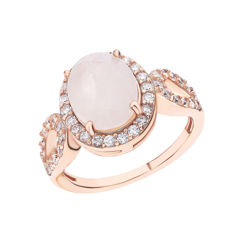 Фото «Серебряное кольцо с фианитами и лунными камнями»