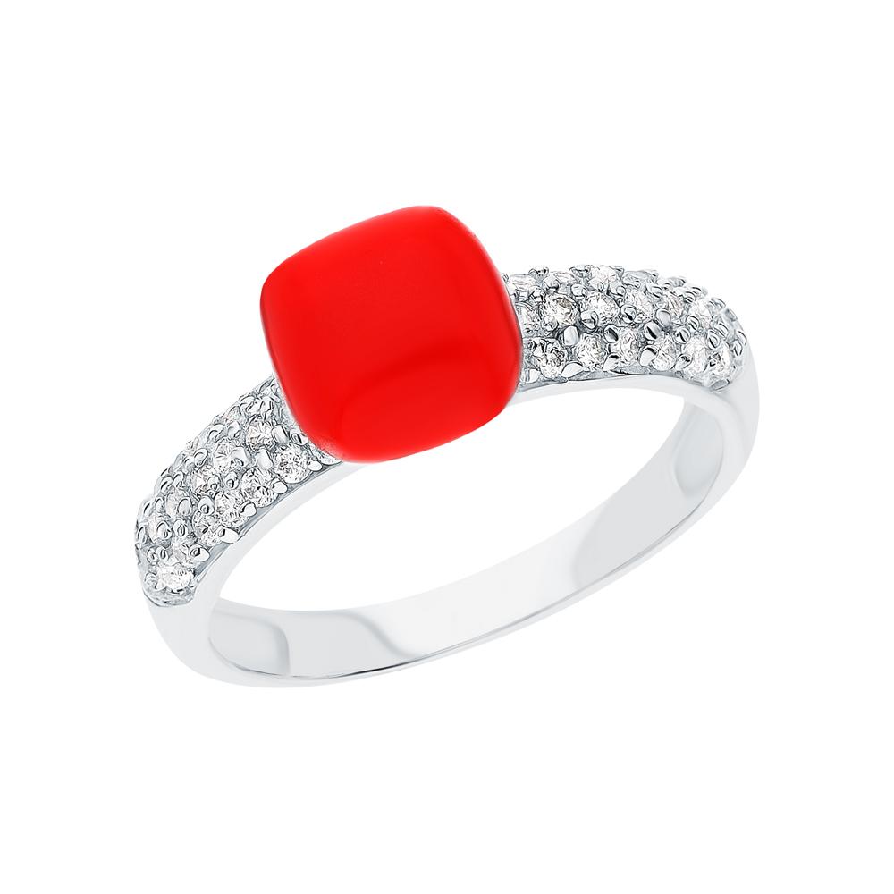 Серебряное кольцо с фианитами и кораллом в Екатеринбурге
