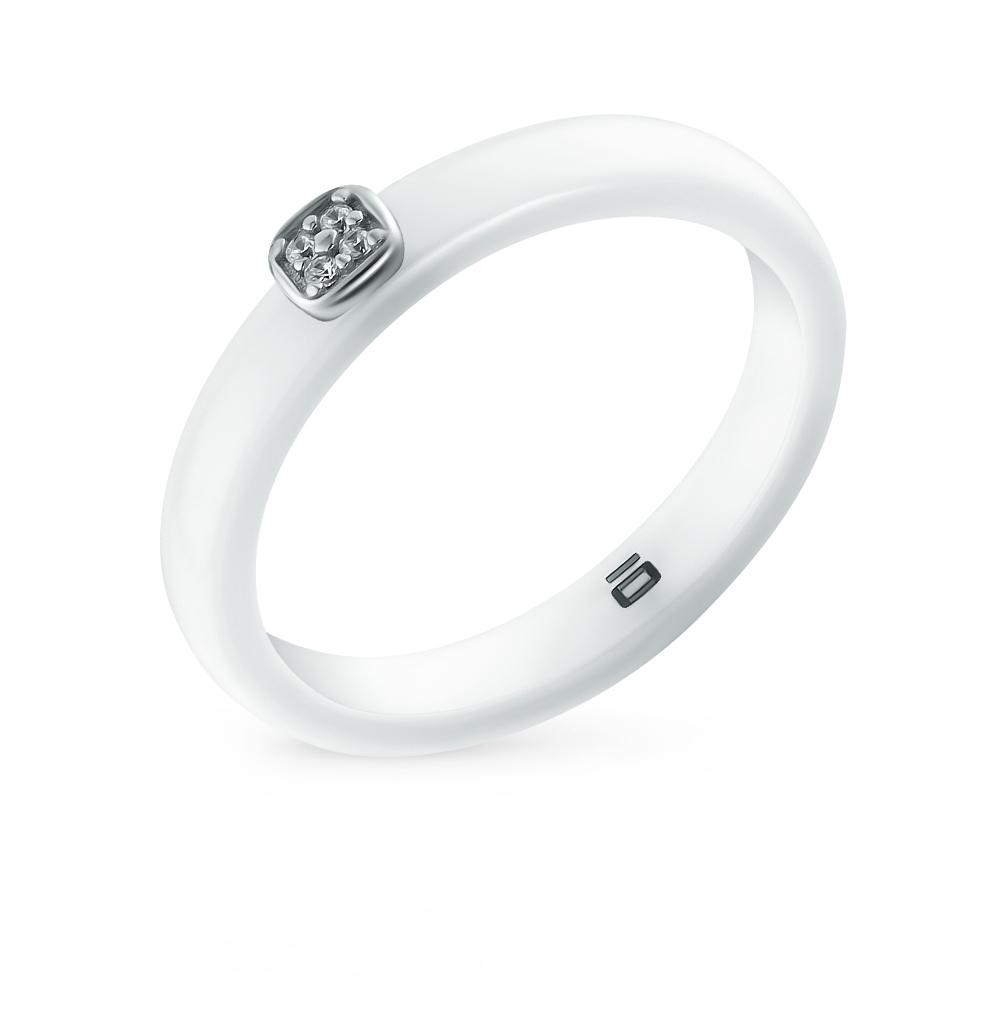 Фото «кольцо из серебра с фианитами и керамикой»