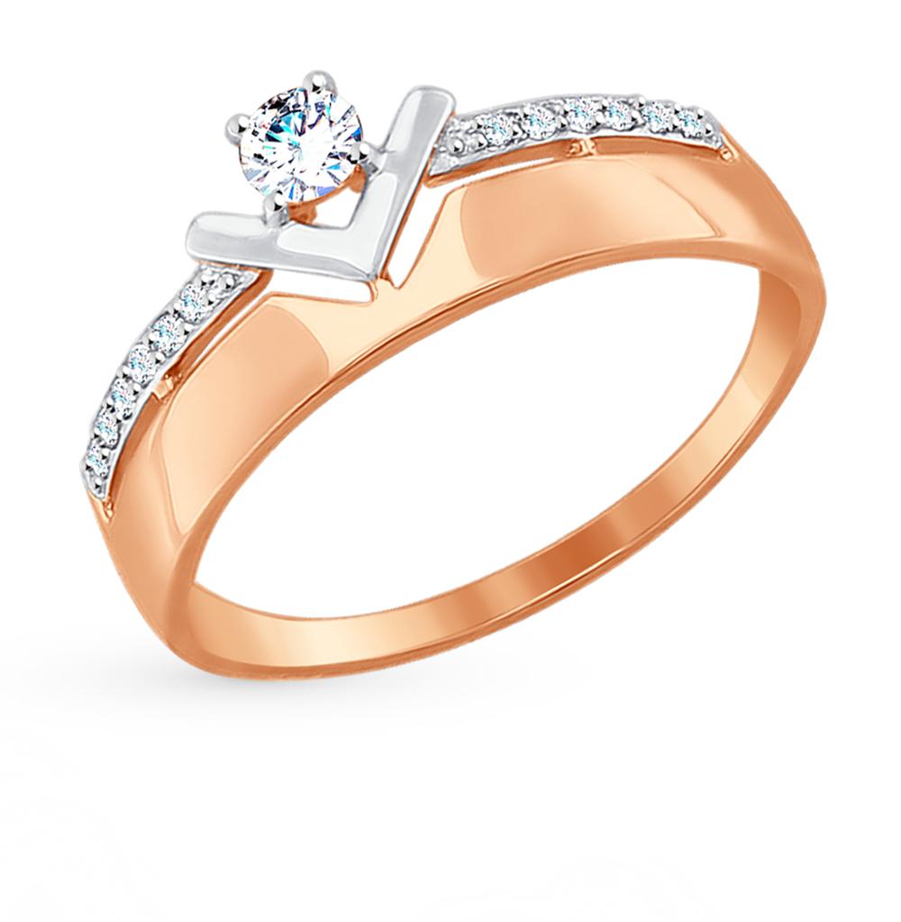 золотое кольцо с фианитами SOKOLOV 017478