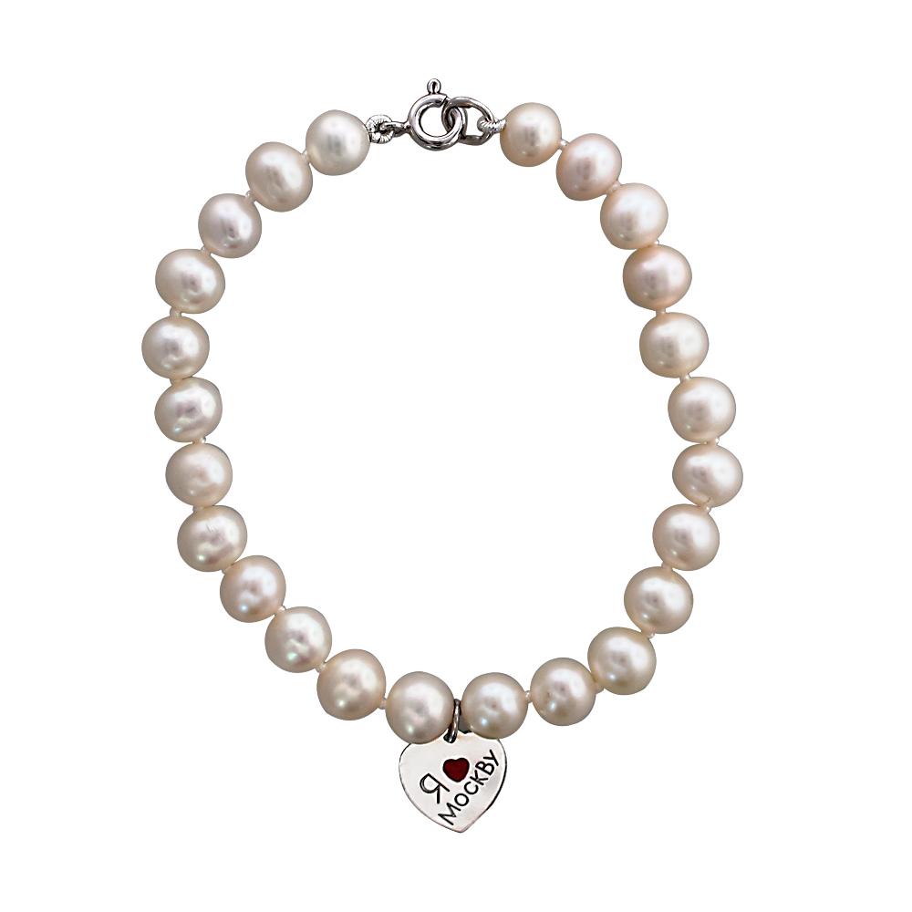 серебряный браслет с эмалью и жемчугами культивированными