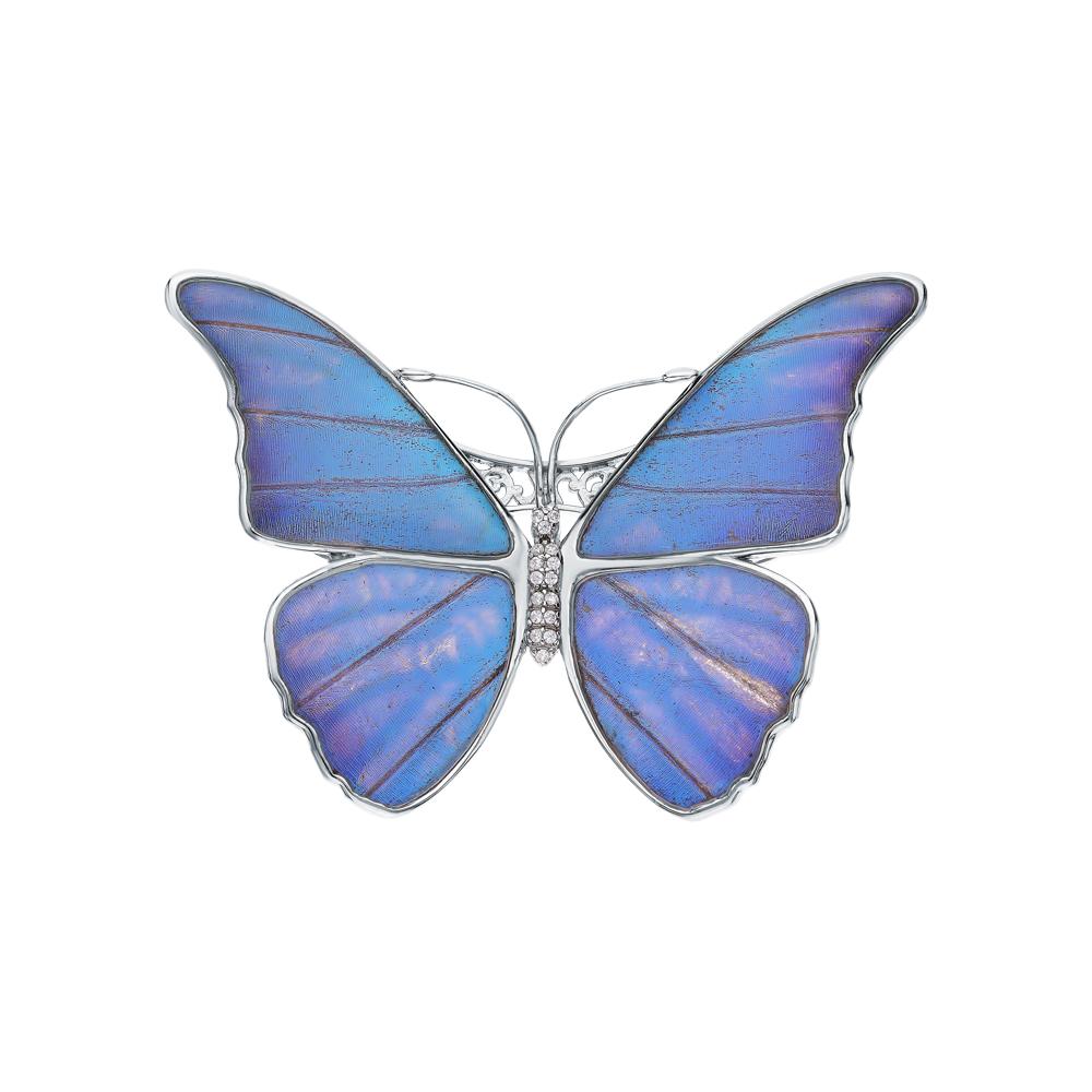 Серебряная брошь с фианитами, эмалью и крыльями бабочками в Екатеринбурге