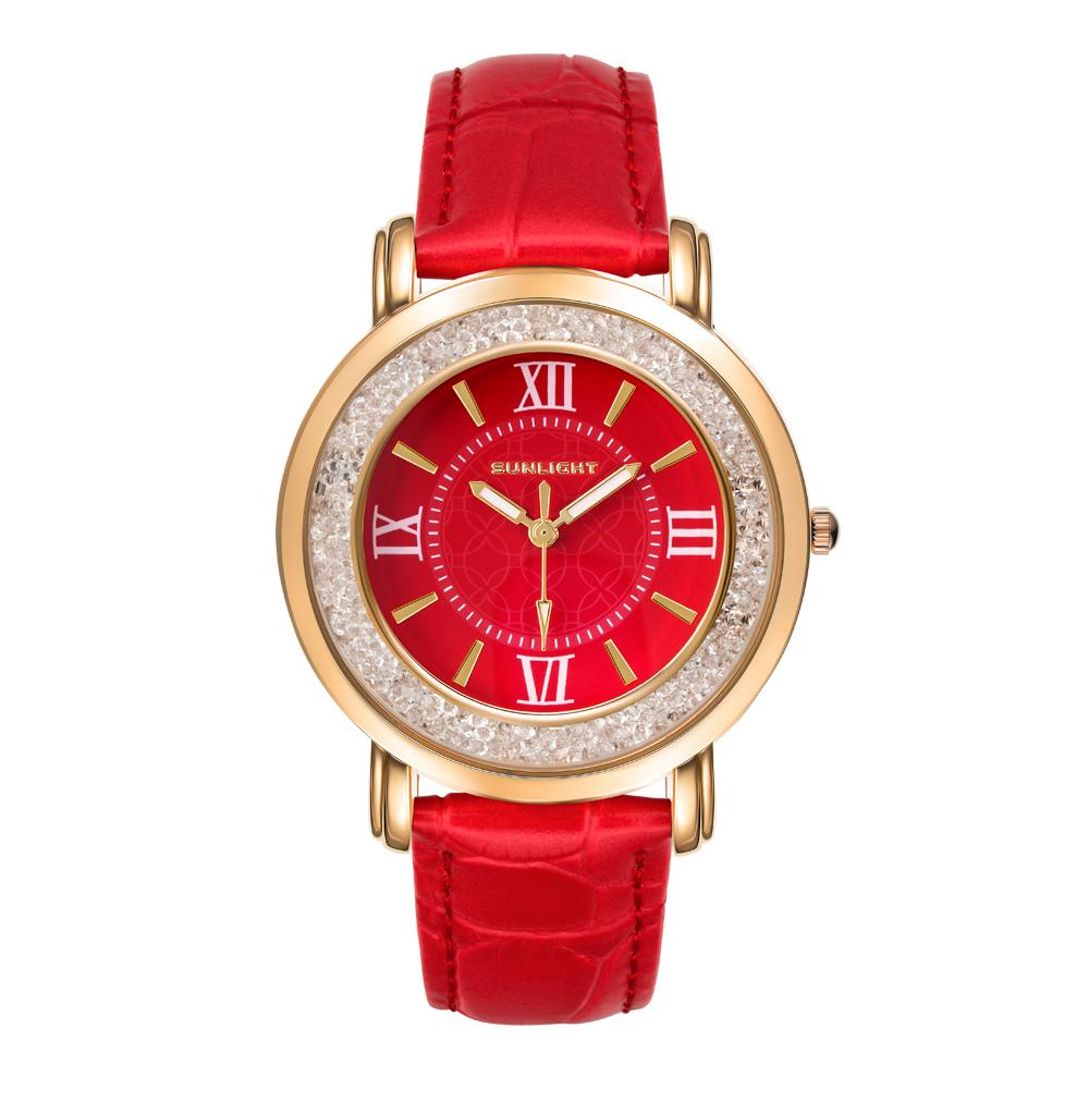 Женские часы на красном ремне из натуральной кожи