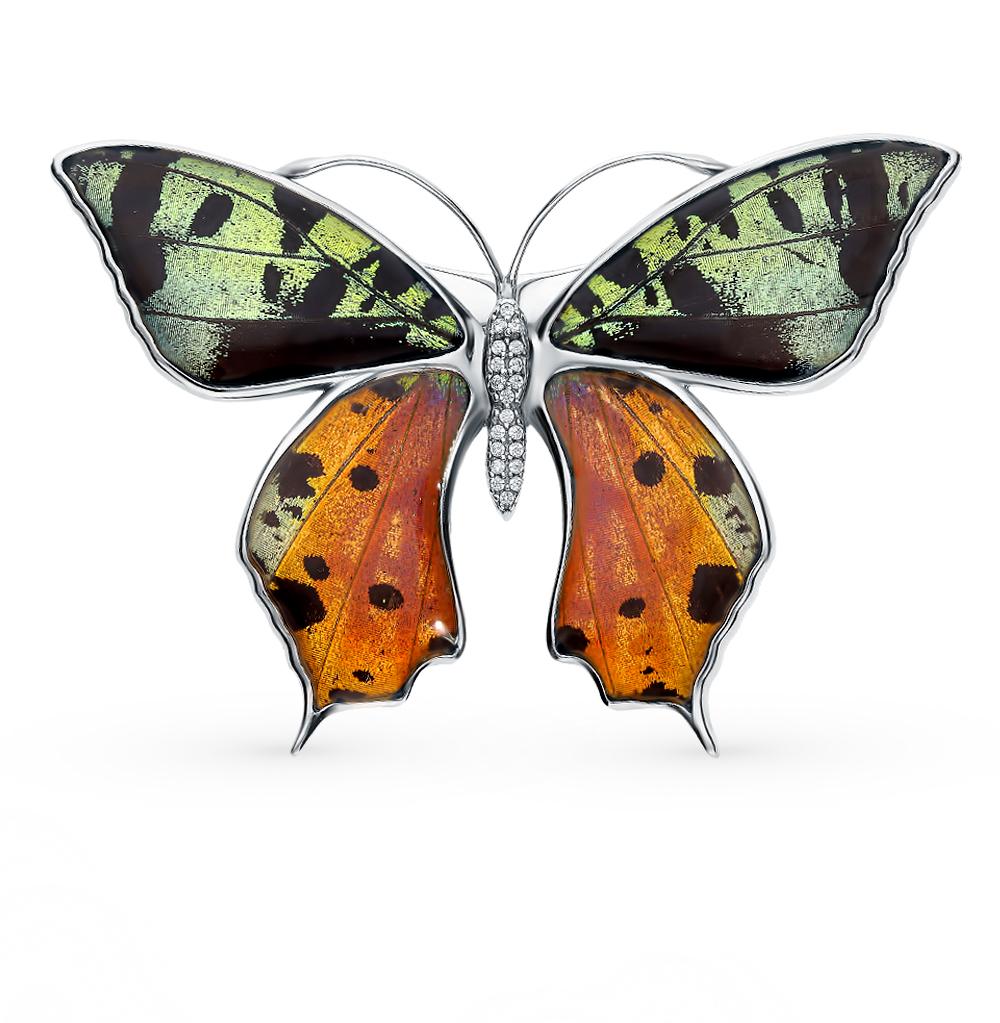 Серебряная брошь с фианитами, эмалью и крыльями бабочки, 5.5 см