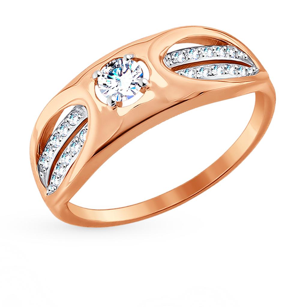 золотое кольцо с фианитами SOKOLOV 017672*