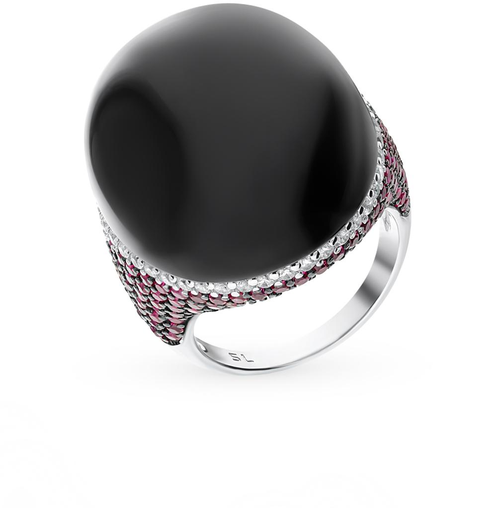 серебряное кольцо с алпанитом, корундом и фианитами