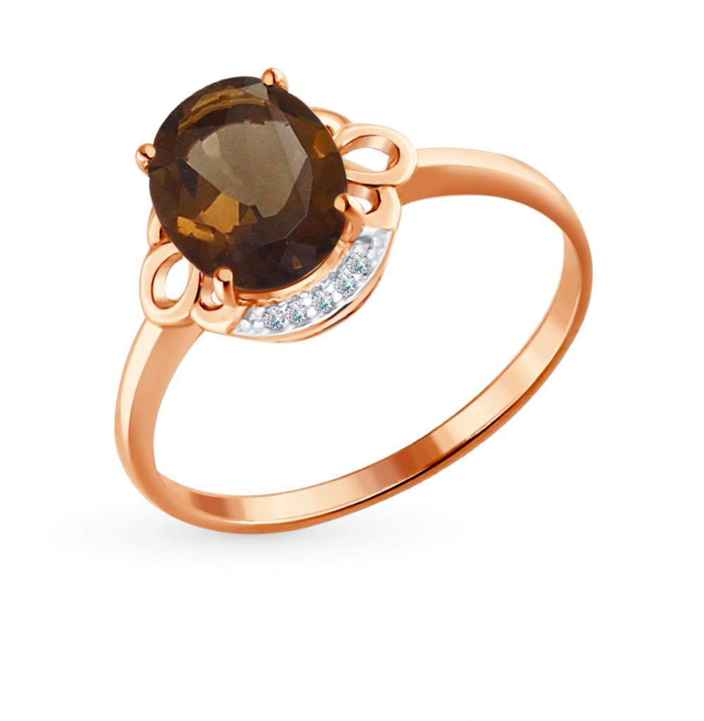 золотое кольцо с топазами и раухтопазами (кварцами дымчатый) SOKOLOV 713959*