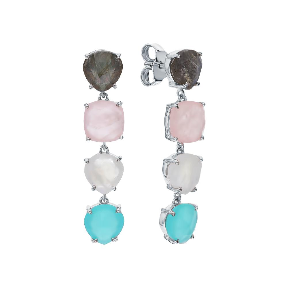 Фото «Серебряные серьги с кварцем, алпанитом, лабрадоритами и лунными камнями»
