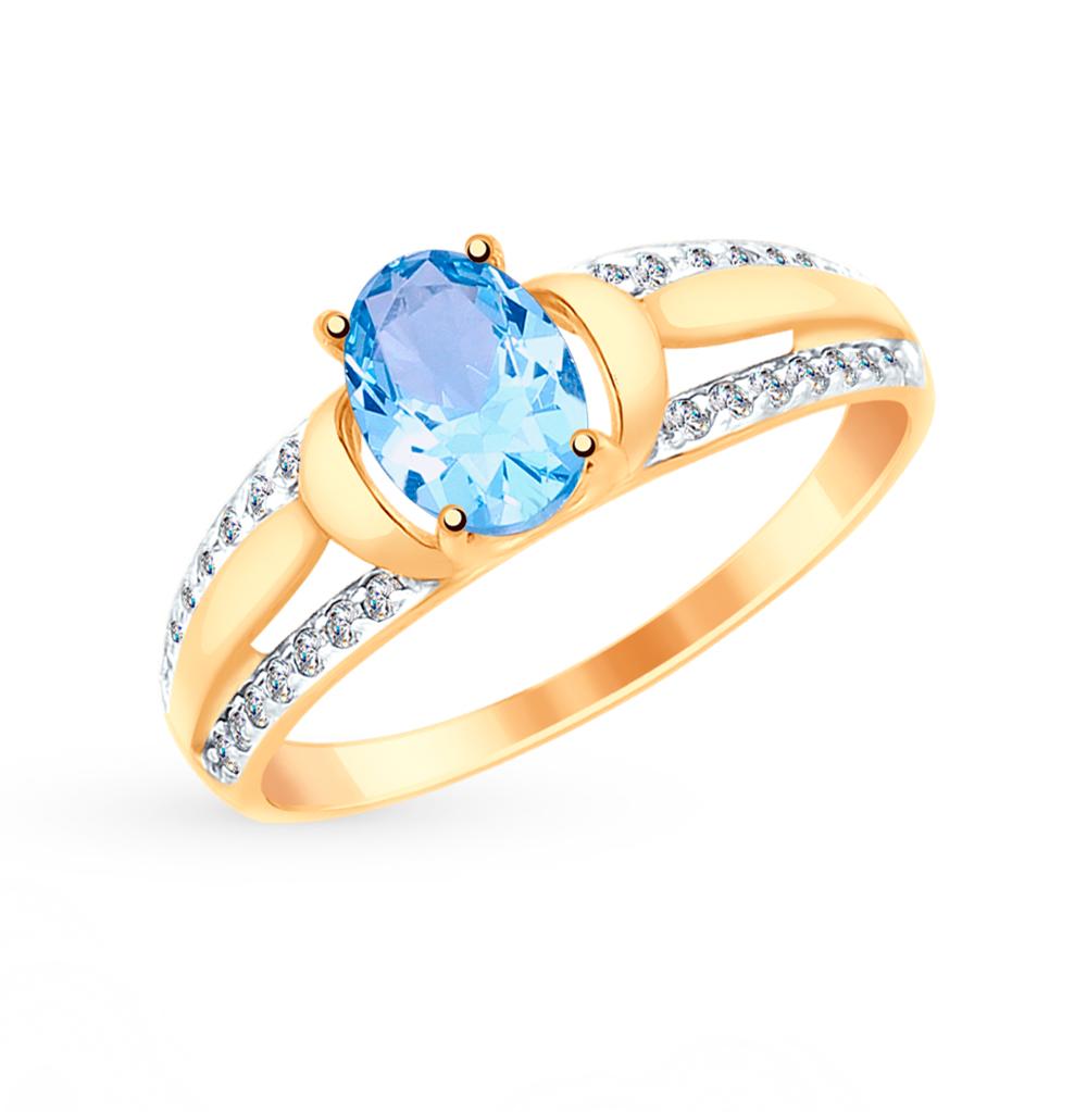 Золотое кольцо с топазом и фианитами SOKOLOV 715034