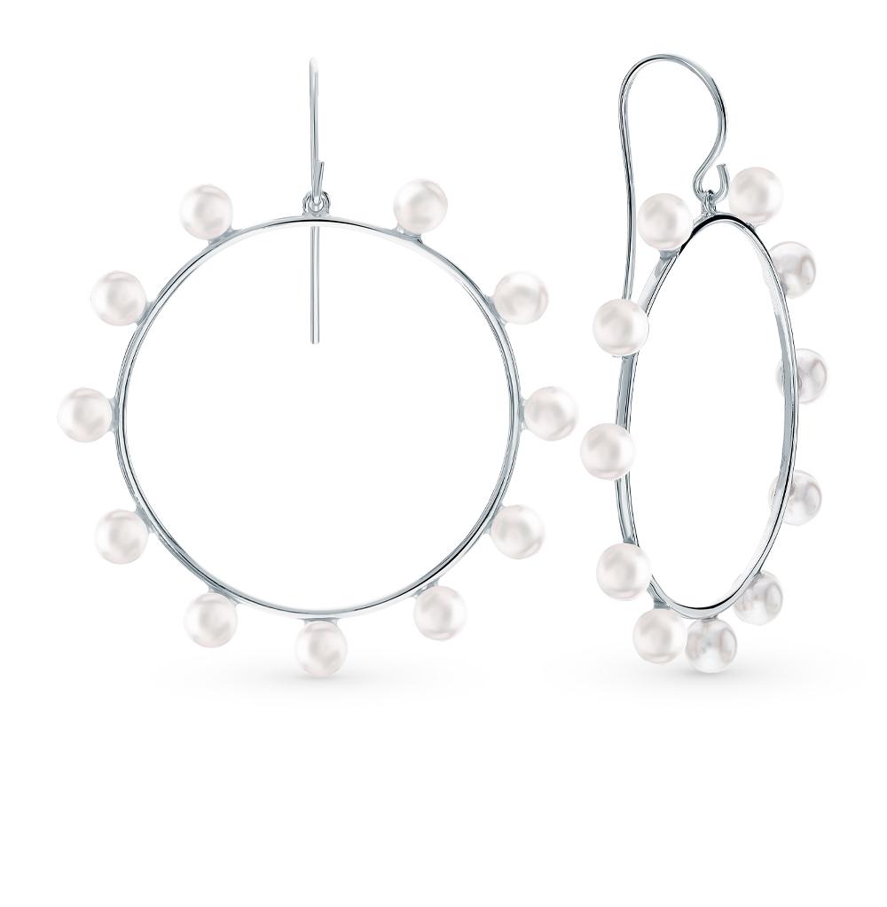 Серебряные серьги с жемчугами имитациями в Екатеринбурге