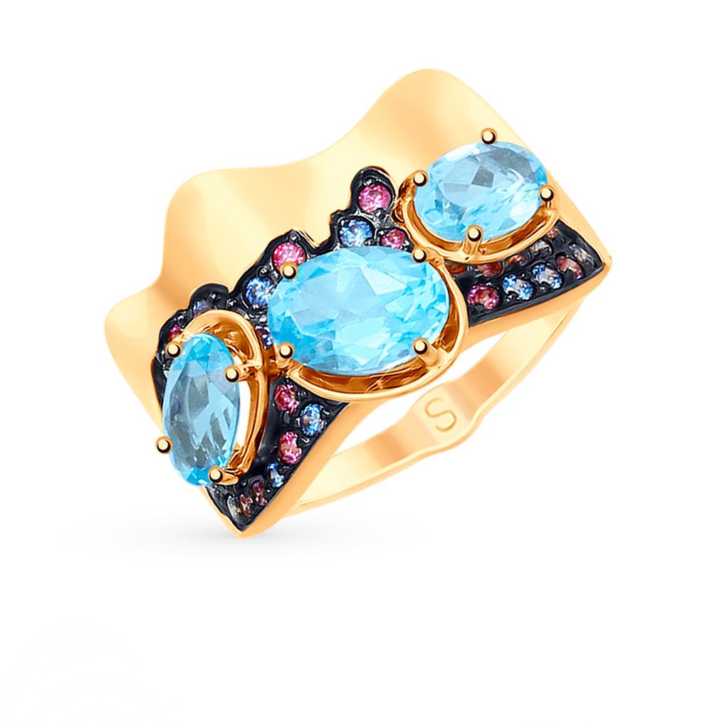 Золотое кольцо с топазами и фианитами SOKOLOV 715206 в Санкт-Петербурге