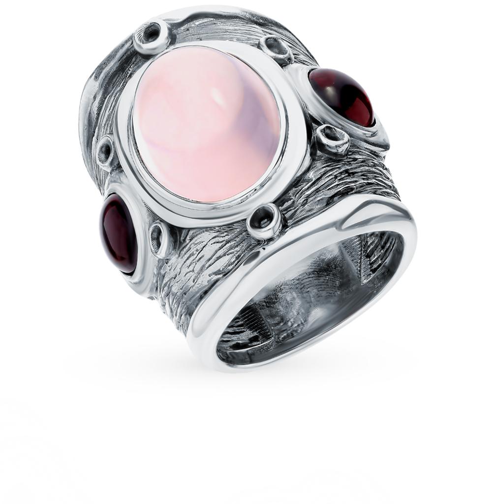 Серебряное кольцо с кварцем и гранатом в Санкт-Петербурге