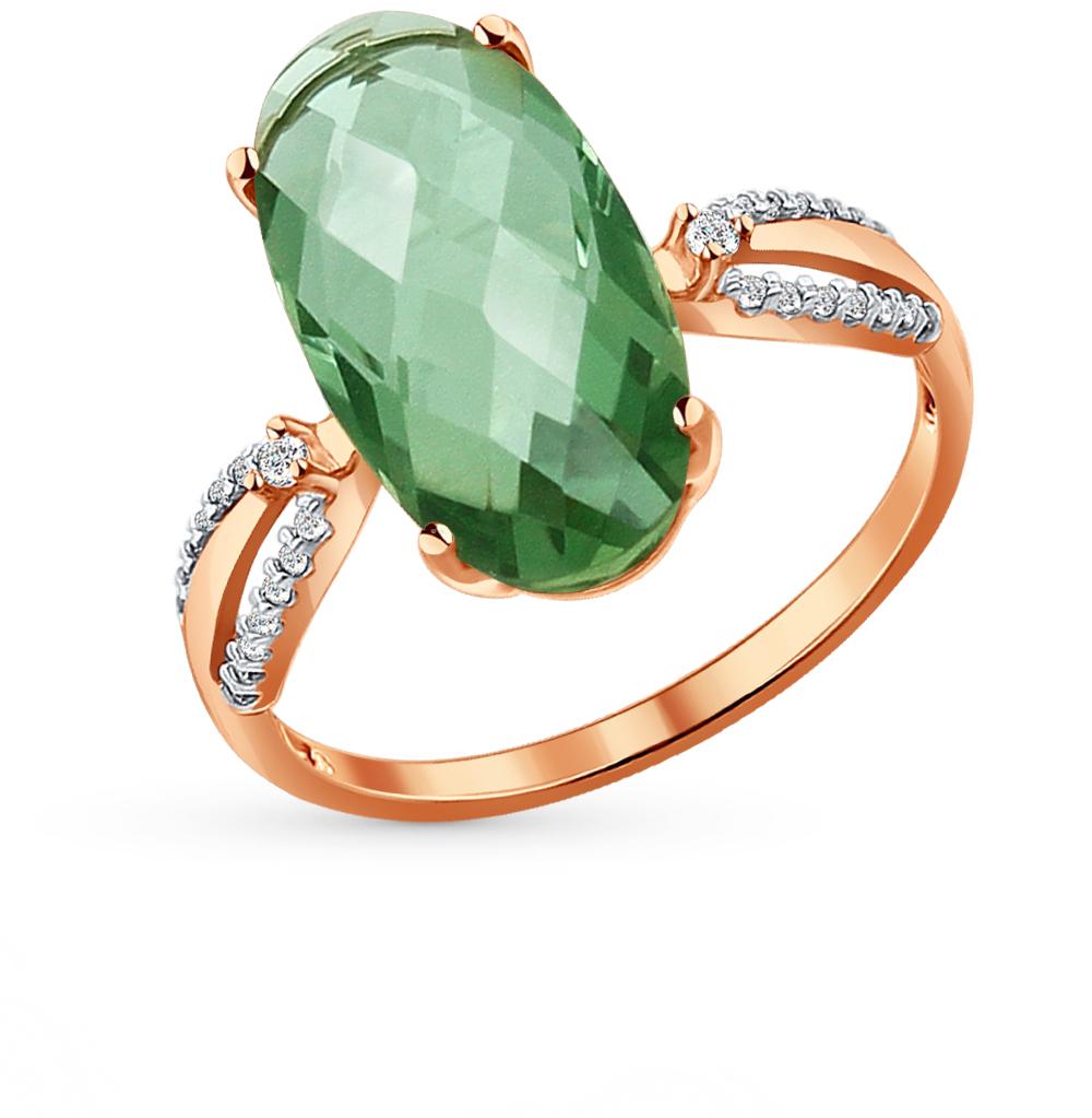 Фото «Золотое кольцо с кварцем и фианитами SOKOLOV 714039*»