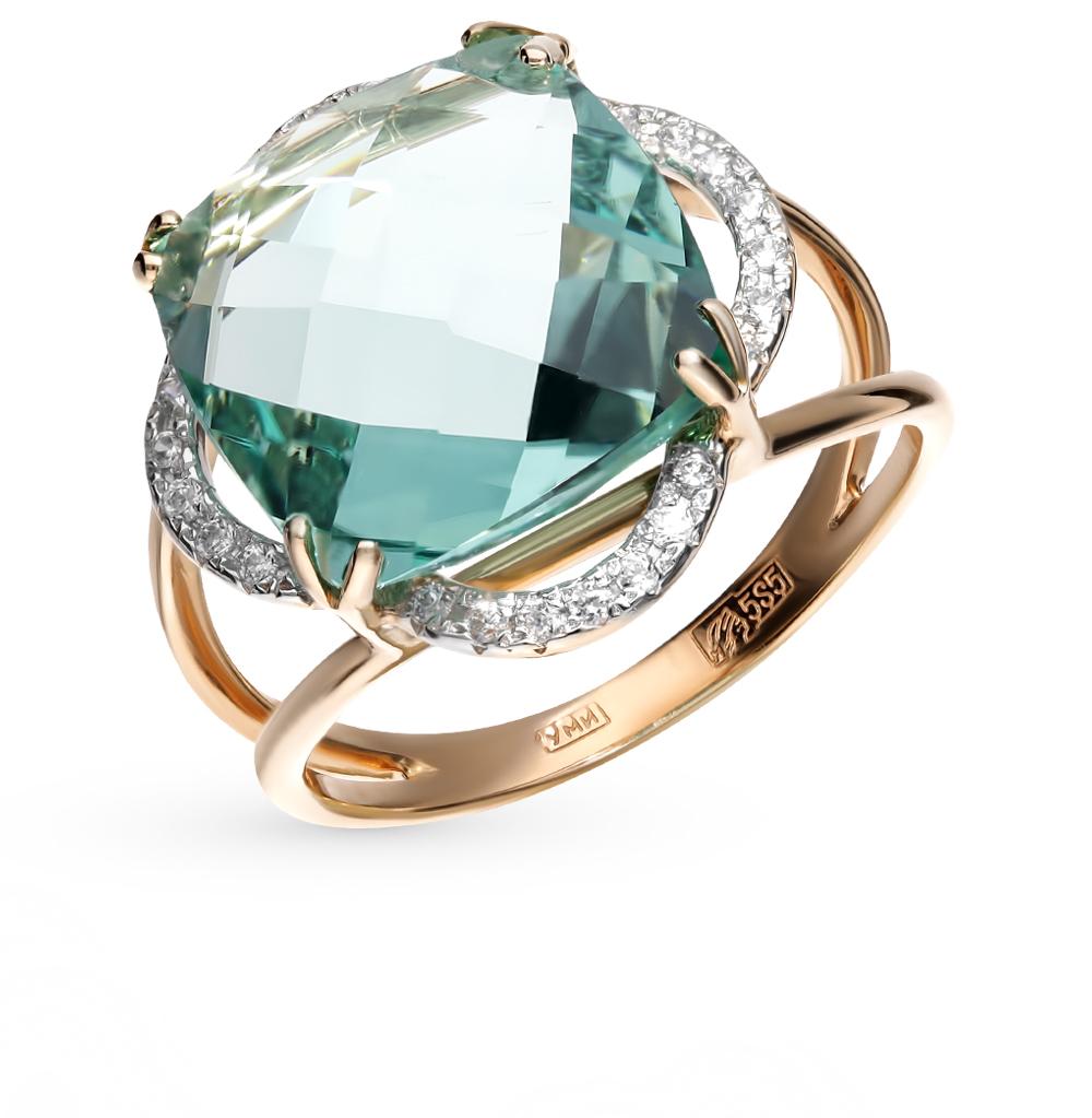 золотое кольцо с аквамарином и фианитами