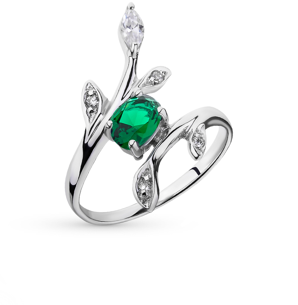 Фото «серебряное кольцо с фианитами и изумрудами»