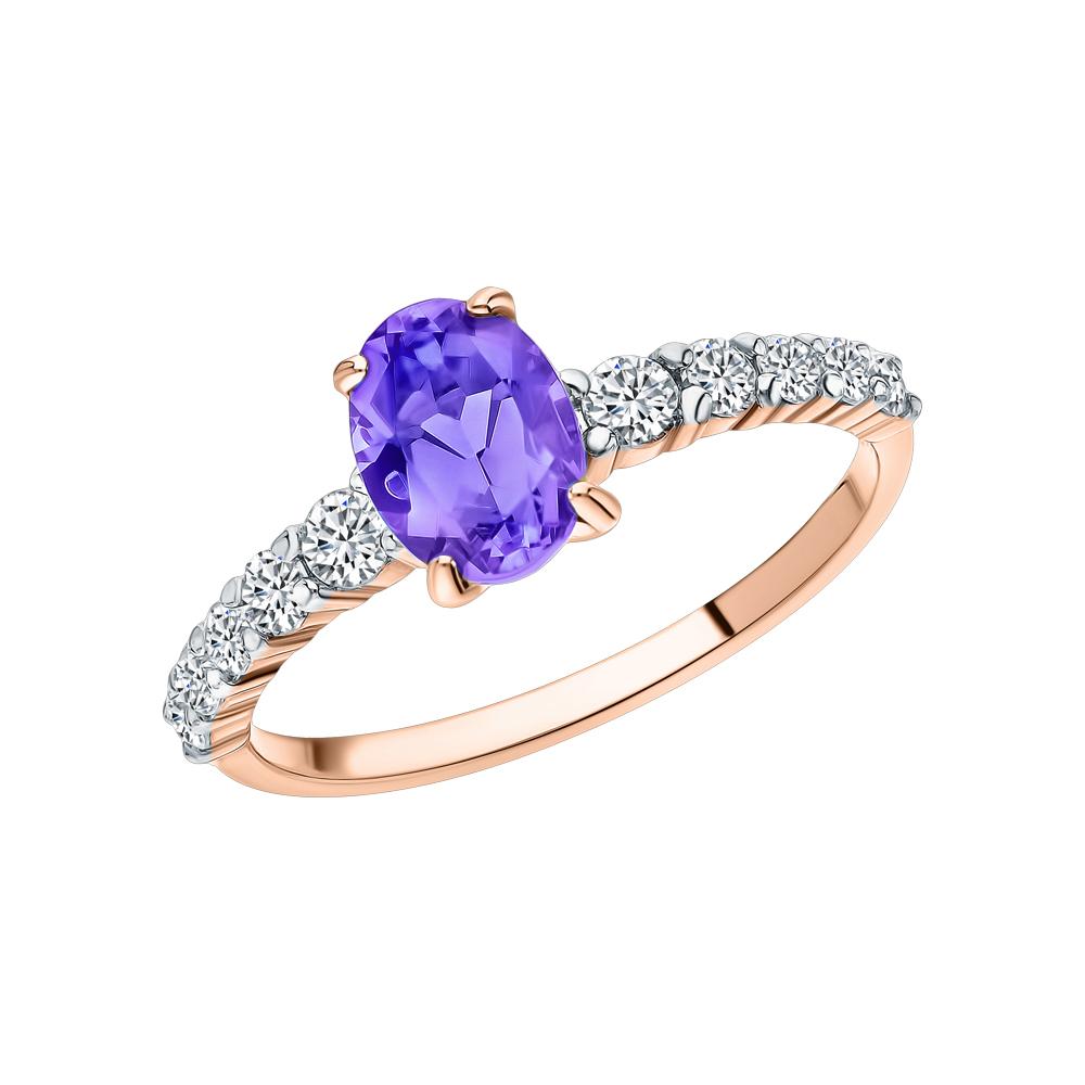 Фото «Золотое кольцо с наноситалом (хамелеон) и фианитами»