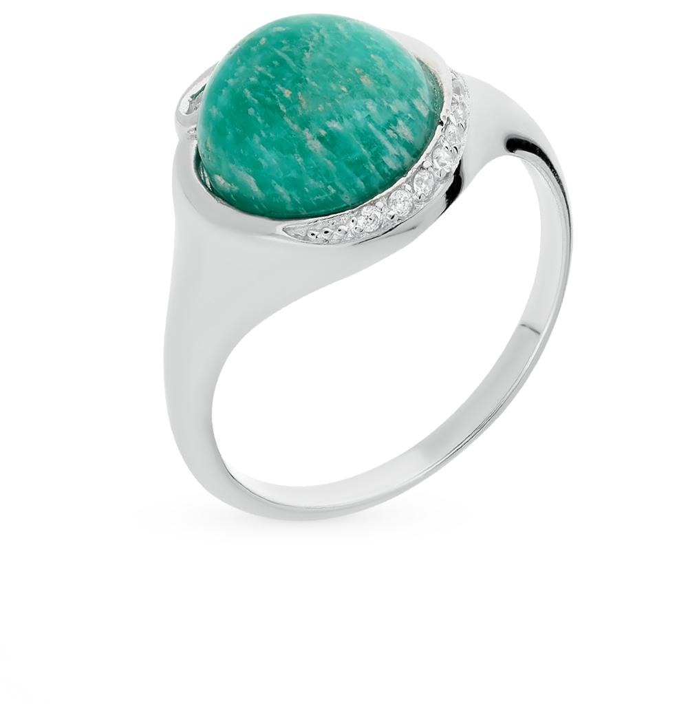 Фото «серебряное кольцо с амазонитом и фианитами»