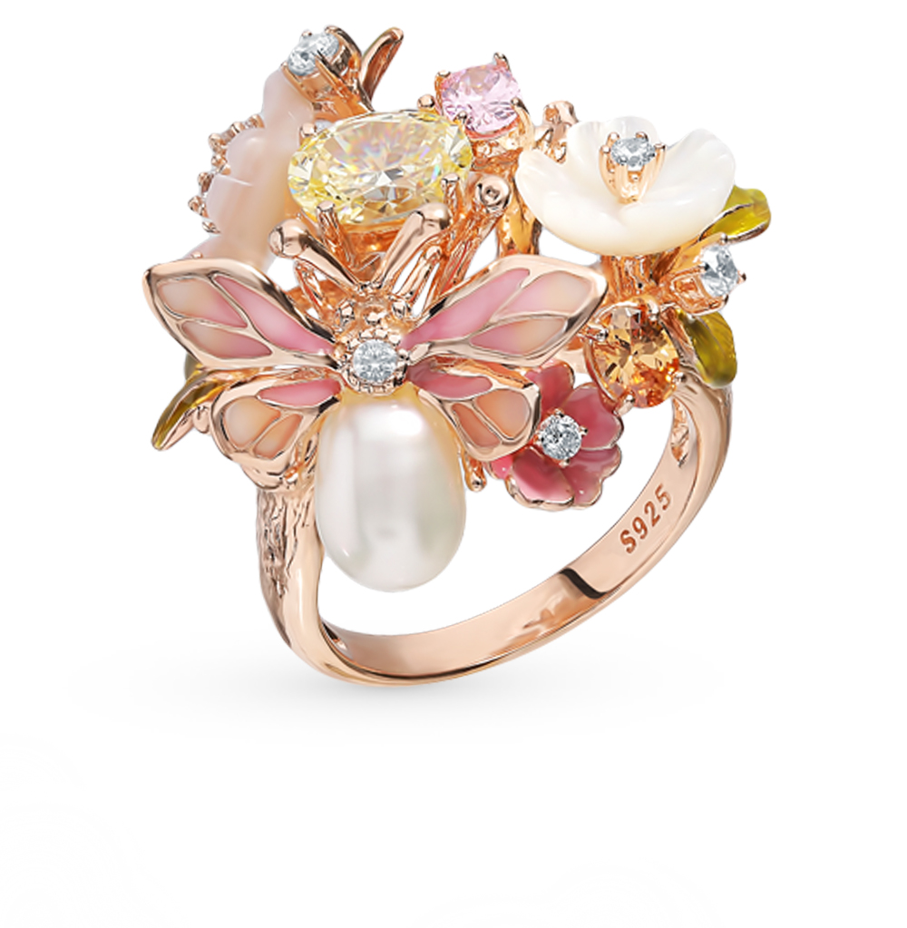 серебряное кольцо с фианитами, жемчугом, перламутром и эмалью