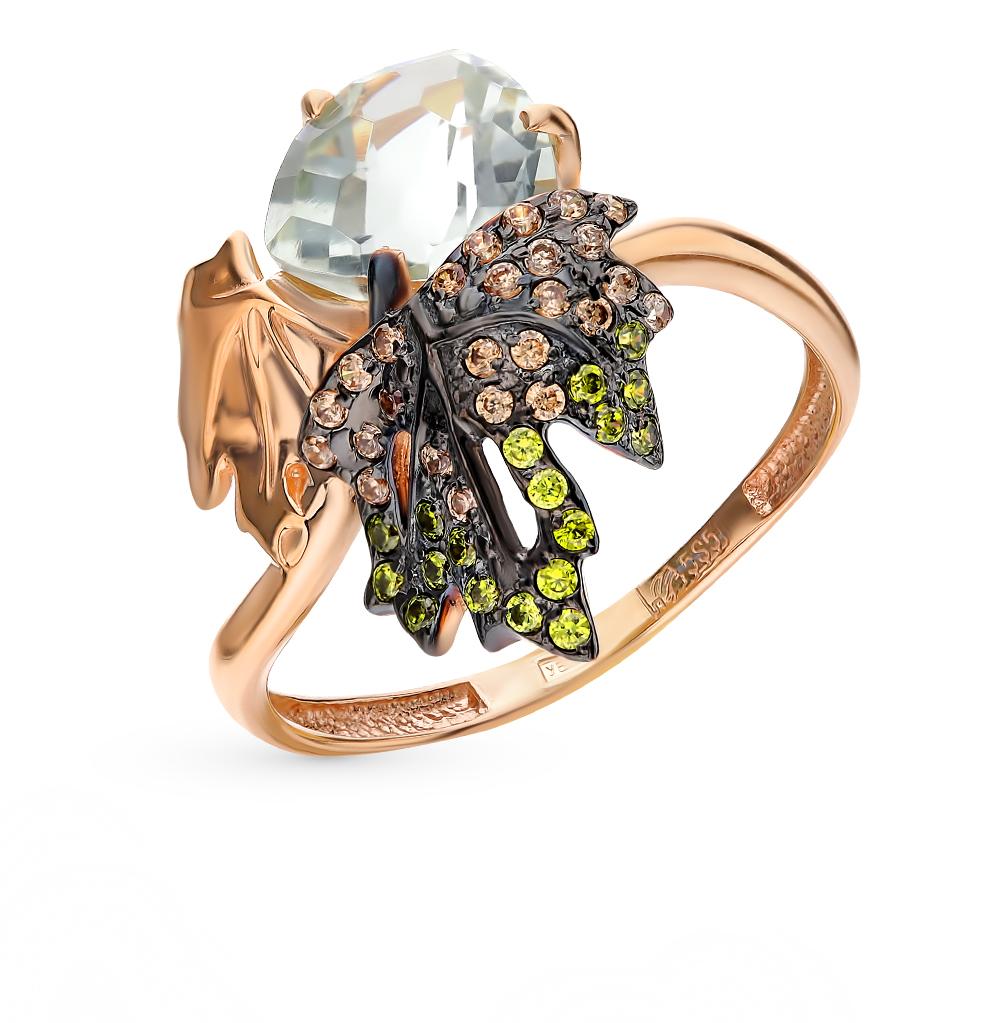 Золотое кольцо с фианитами и празиолитом