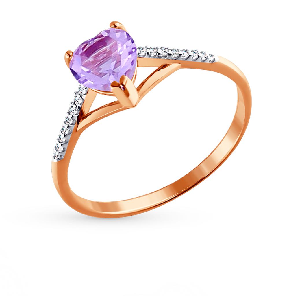 золотое кольцо с аметистом и фианитами SOKOLOV 713835*