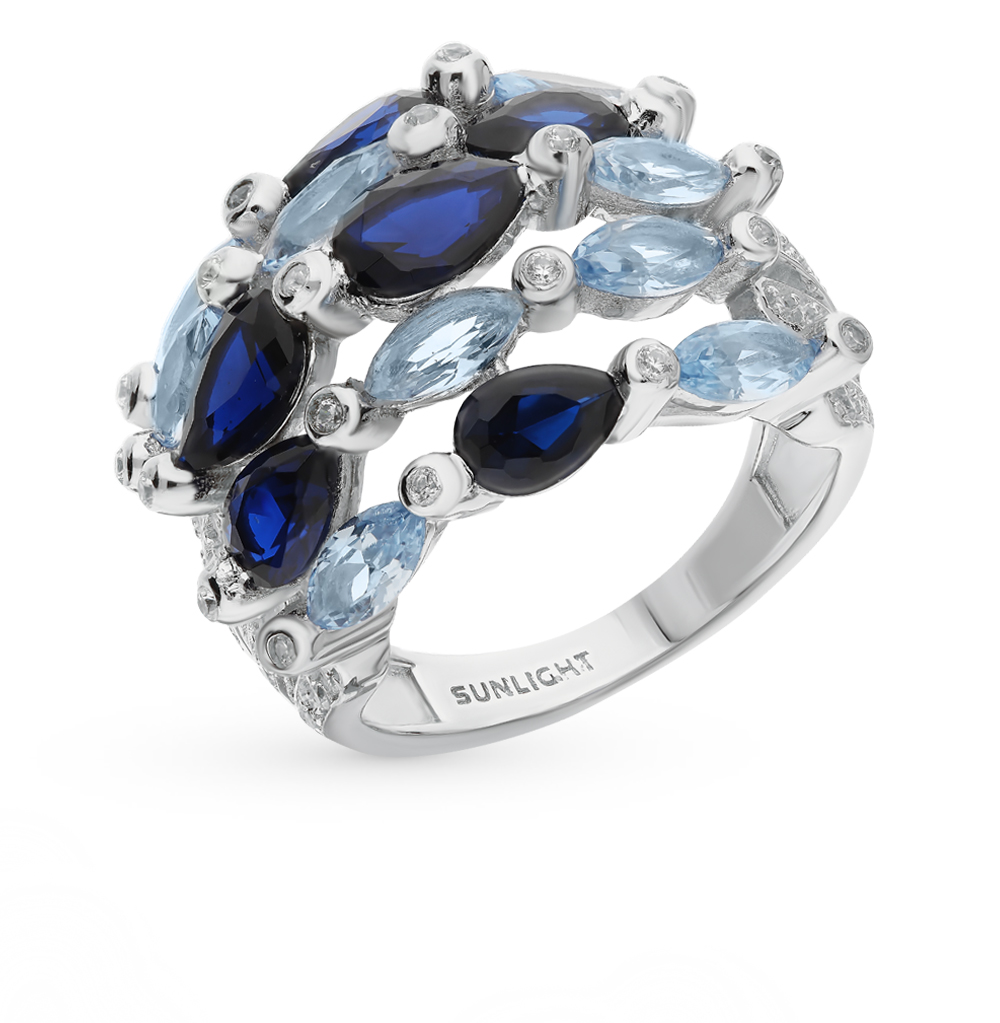 Серебряное кольцо со шпинелью и фианитами в Екатеринбурге