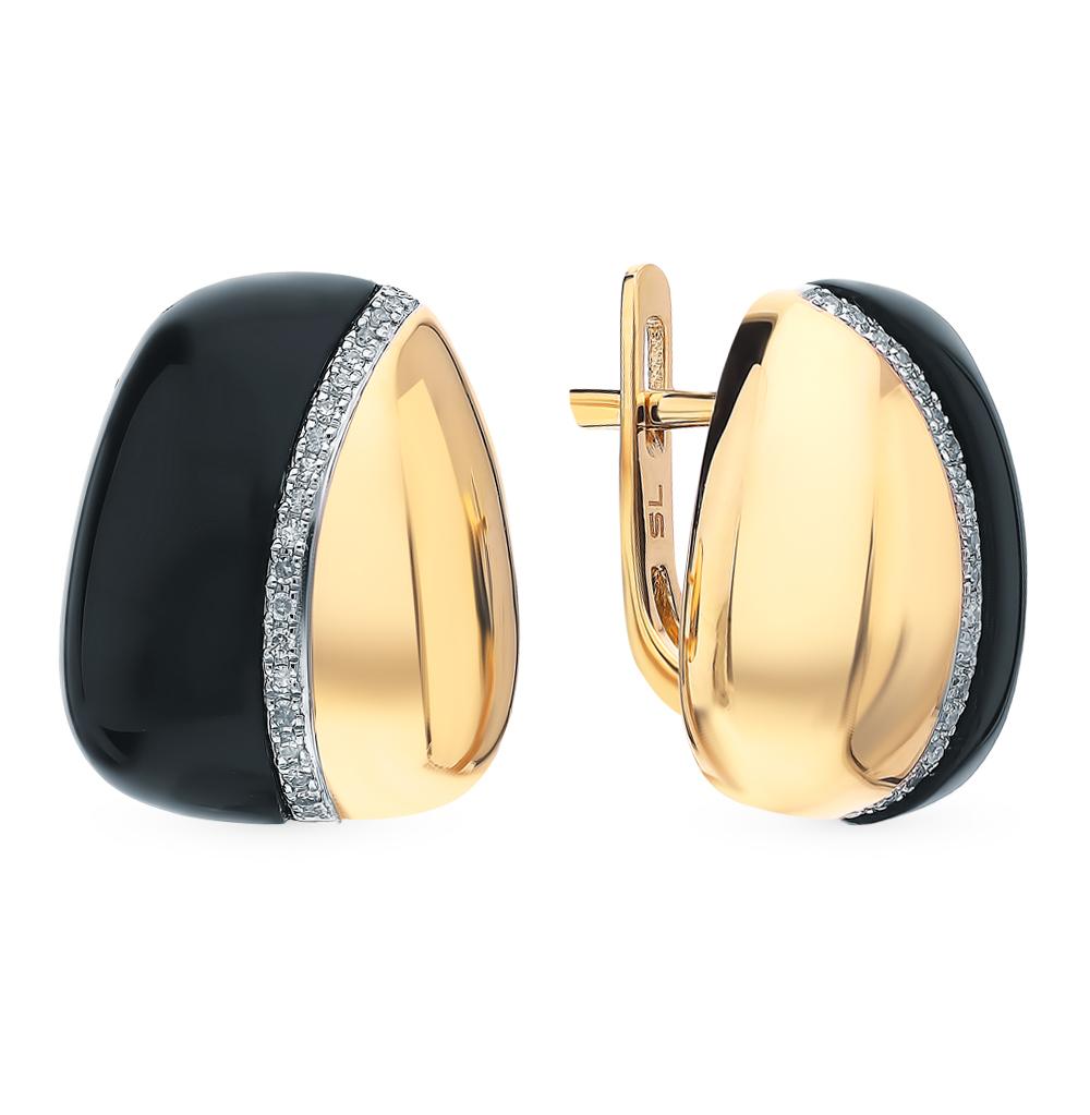 золотые серьги с ониксом и бриллиантами