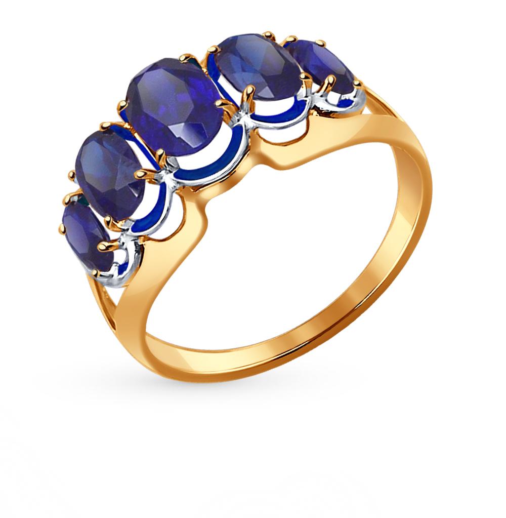 Фото «Золотое кольцо с сапфирами и корундом SOKOLOV 714436*»