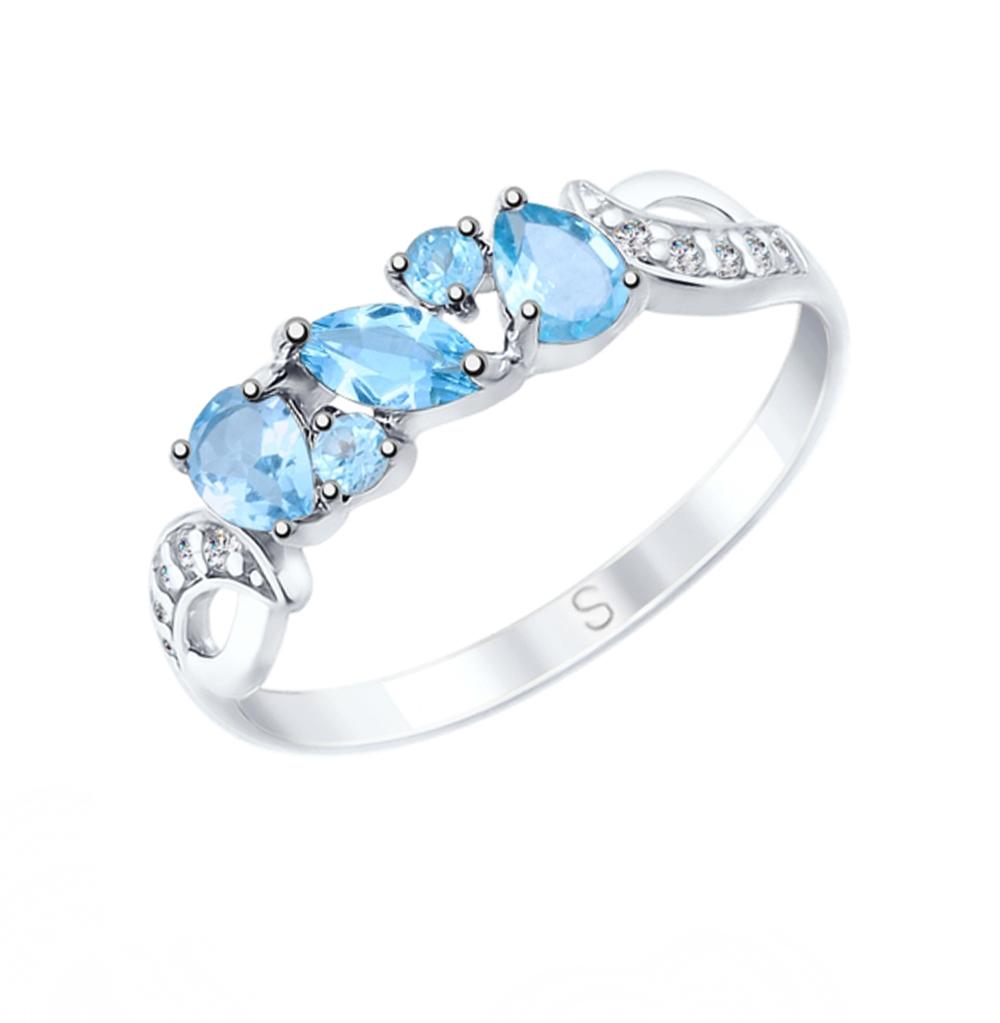 Фото «Серебряное кольцо с топазами и фианитами SOKOLOV 92011590»
