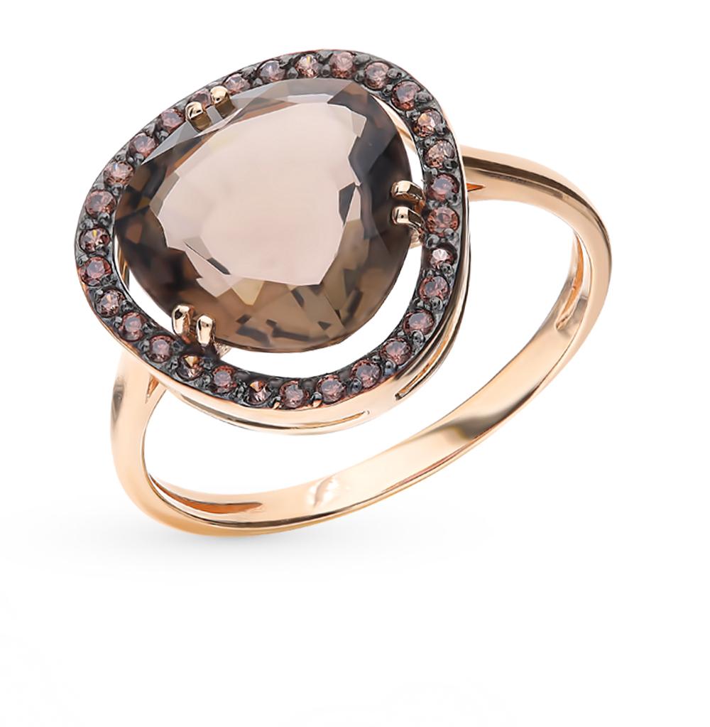 Золотое кольцо с раухтопазом и фианитами