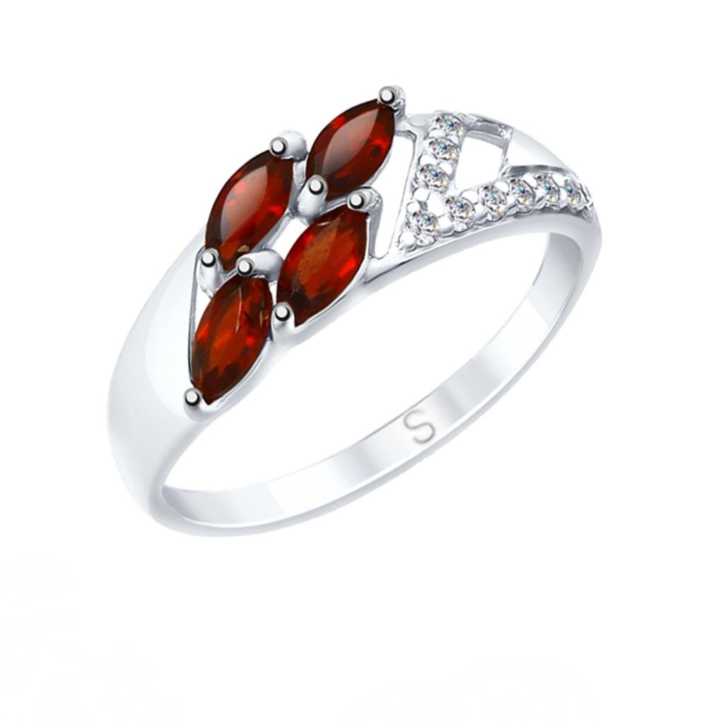 Серебряное кольцо с фианитами и гранатом SOKOLOV 92011643 в Санкт-Петербурге