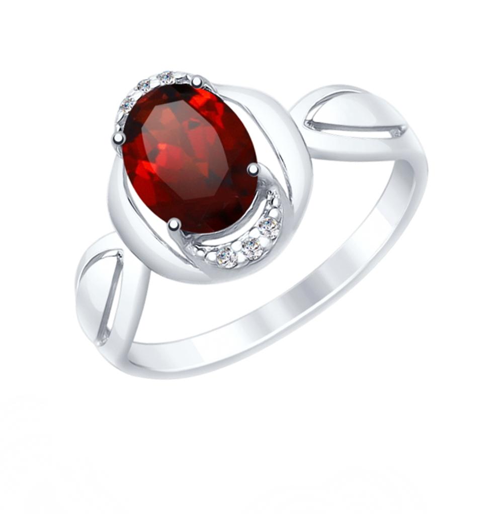 Фото «Серебряное кольцо с фианитами и гранатом SOKOLOV 92011560»