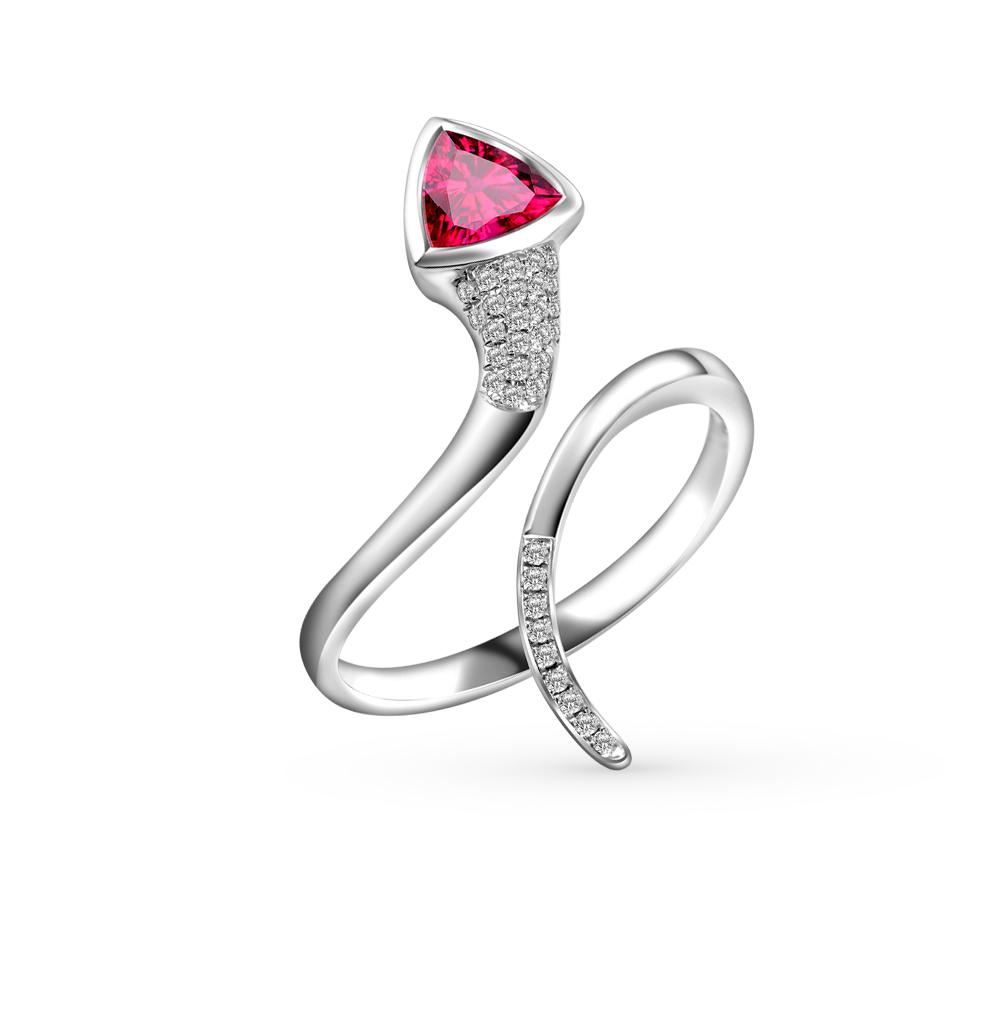 Фото «золотое кольцо с родолитами и бриллиантами»