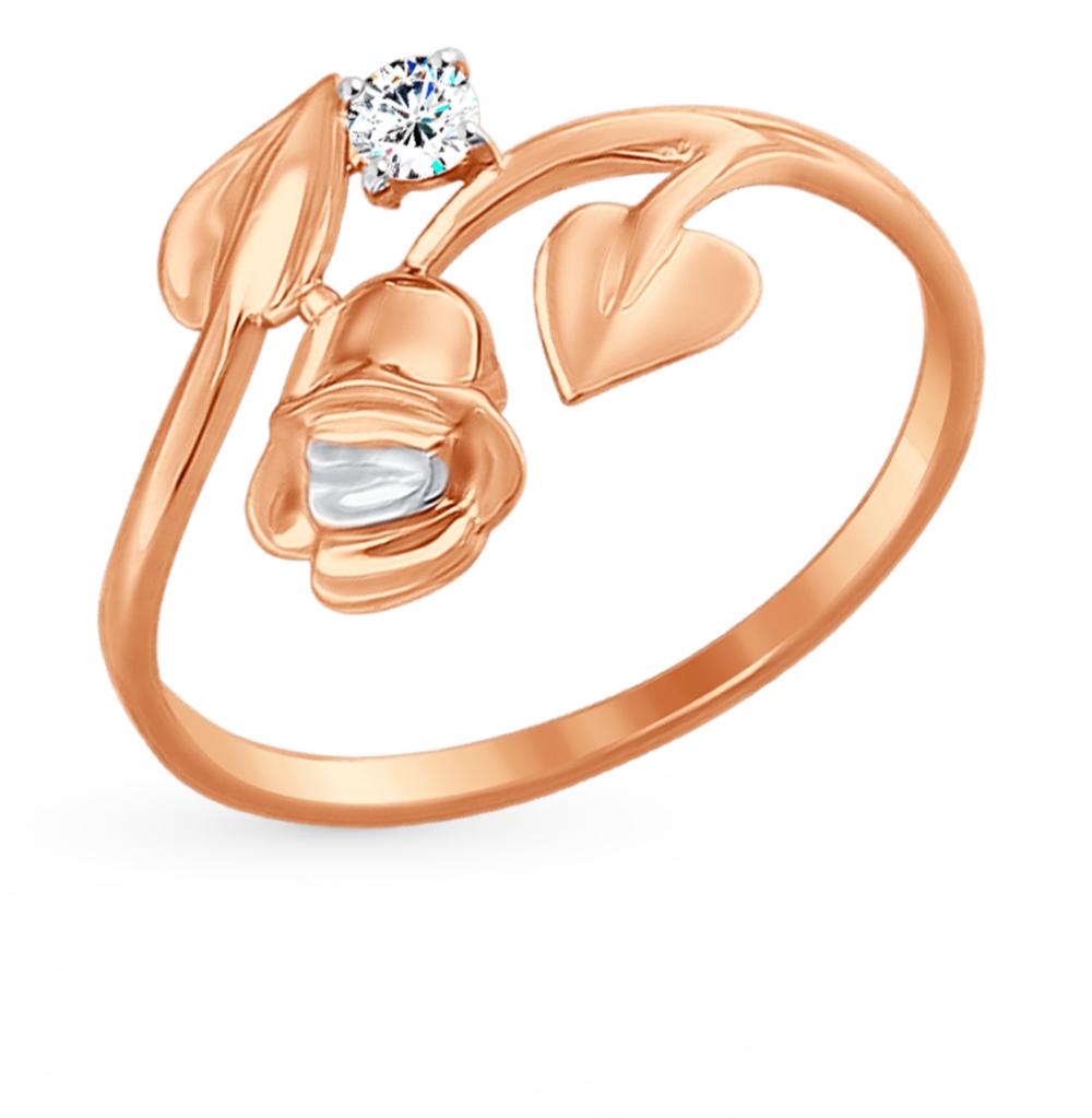 золотое кольцо с фианитами SOKOLOV 017451*