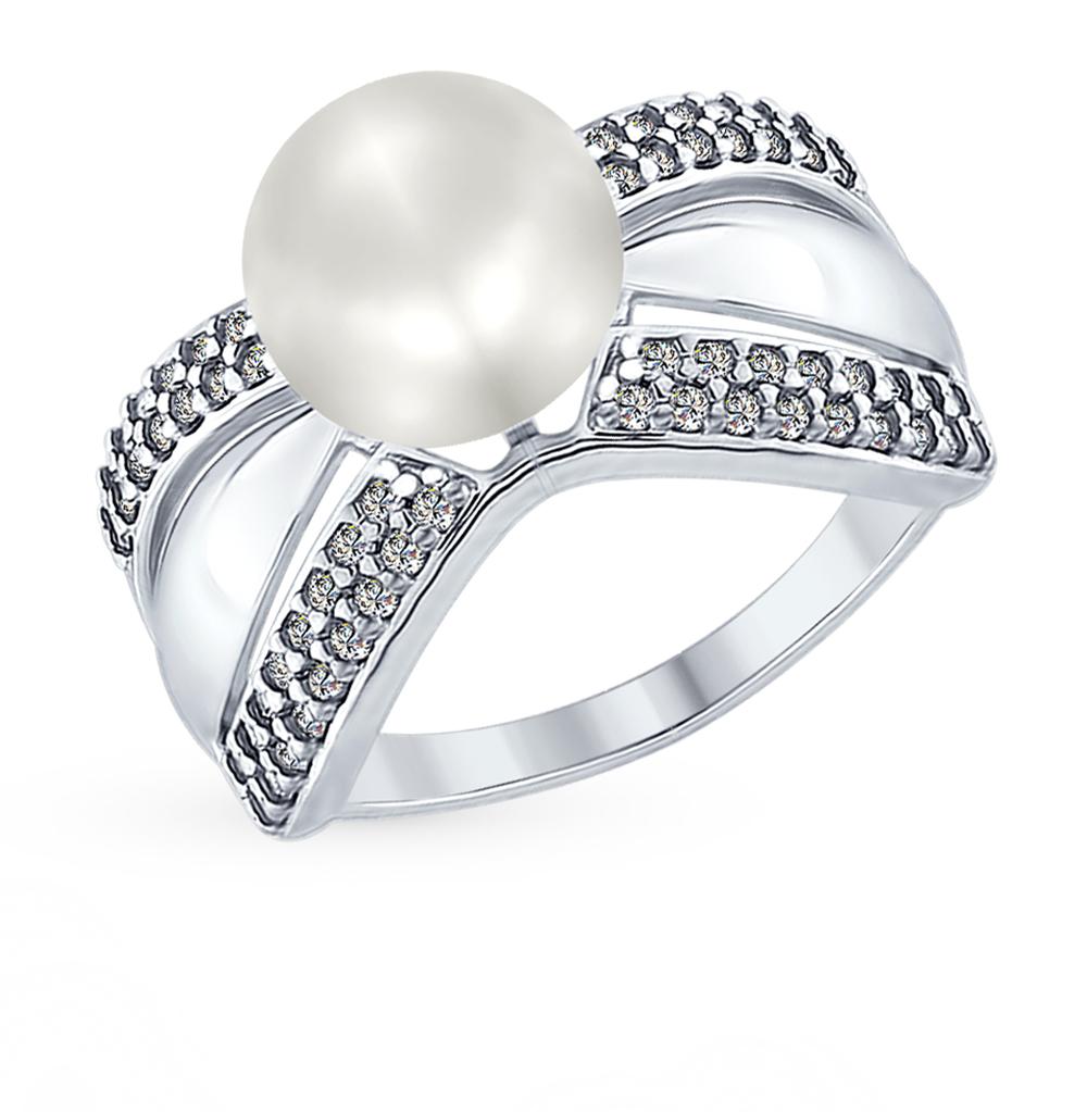 серебряное кольцо с фианитами и жемчугом SOKOLOV 94012348