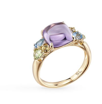 Фото «золотое кольцо с аметистом, цитринами, топазами, хризолитом и бриллиантами»