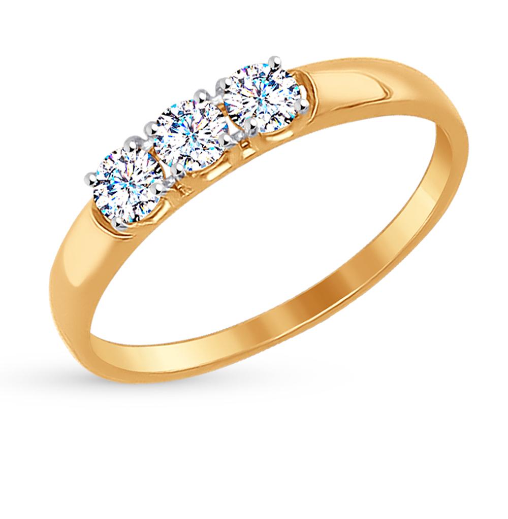 золотое кольцо с фианитами SOKOLOV 81010283*