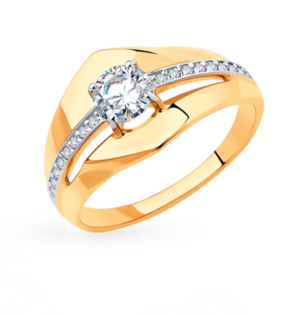 Фото «Золотое кольцо с фианитами SOKOLOV 018341»