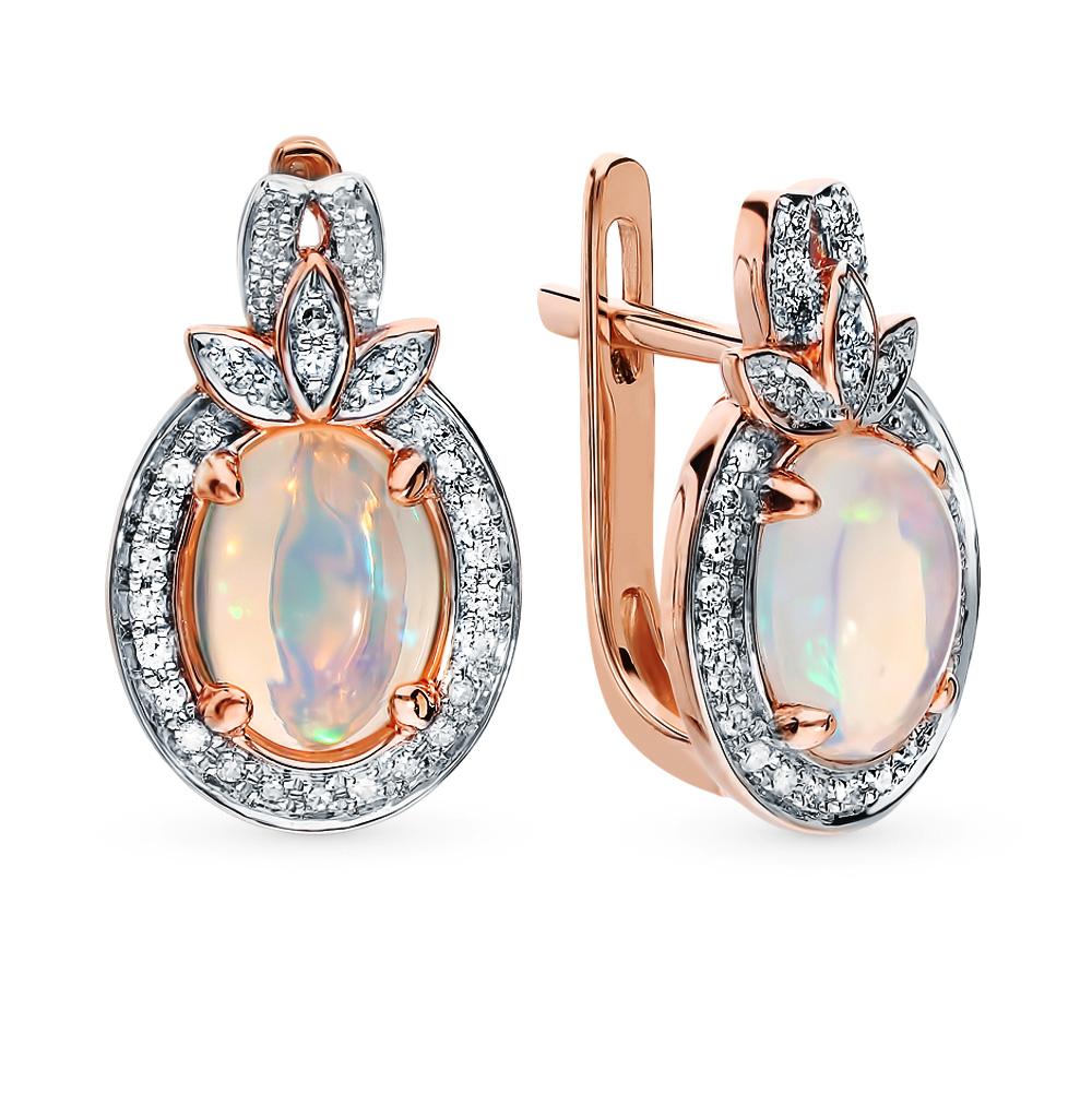 Фото «Золотые серьги с опалами и бриллиантами»